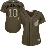 Indians #10 Edwin Encarnacion Green Salute to Service Women's Stitched Baseball Jersey